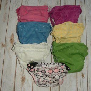 Lot of 7 Bum Genius AIO All In One Snap Diapers